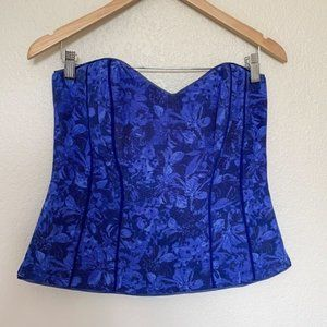 WHBM Blue Floral Bustier Corset Strapless Top